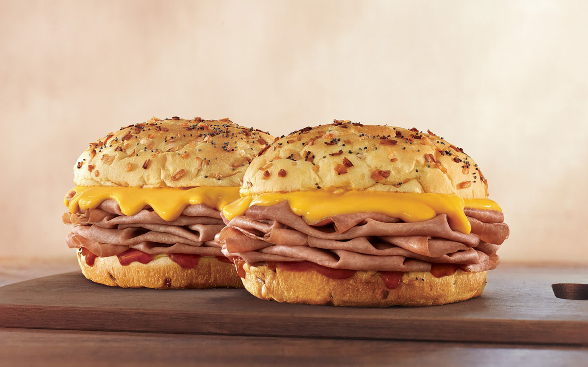 Arby's Beef N Cheddars sandwiches.