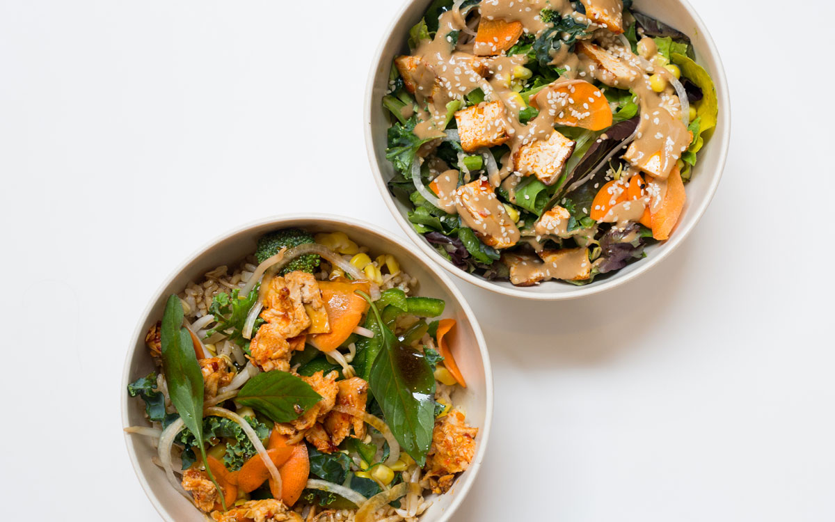 Bowls of food at Brightwok Kitchen fast casual.