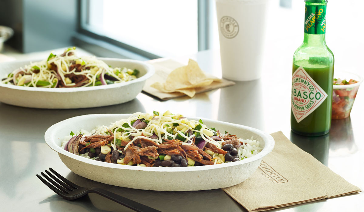 A burrito bowl at Chipotle.