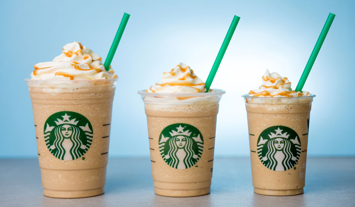 Three Starbucks' Frappuccinos lined up.