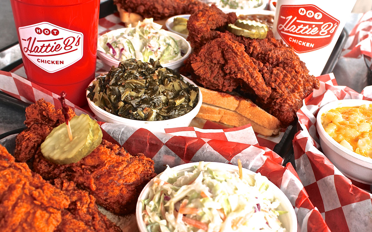 A plate of hot chicken at Hattie B's.