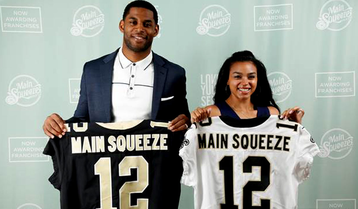 Marques Colston and his wife, Emily, will work alongside the Main Squeeze Juice Co. executive team