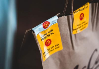 McDonald's takeout bags.