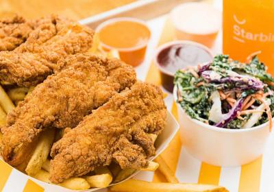 Super premium fast food restaurant chain Starbird offers high quality chicken.