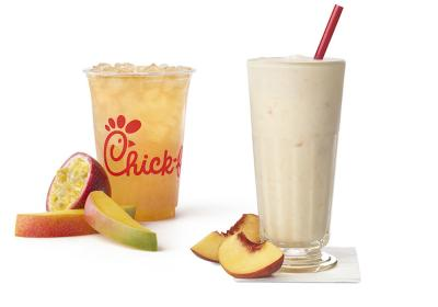 Chick-fil-A Mango Passion Tea Lemonade and Peach Milkshake.
