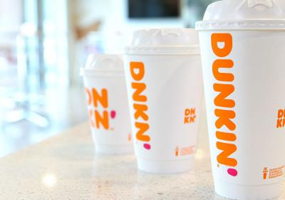 Dunkin' cups lined up.