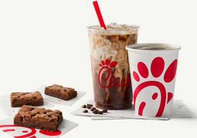 Chick-fil-A brownie and new coffee drinks.