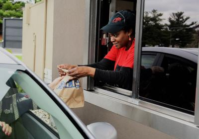Fazoli's employee at the drive thru.
