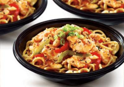 Customers can customize their dish, which is cooked in front of them.