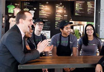 Randy Garutti works with the team at Shake Shack in Brooklyn.