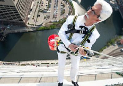 A KFC marketing campaign had Colonel Sanders delivering food to window washers.