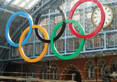 The Olympics rings in London welcome visitors for the summer games.