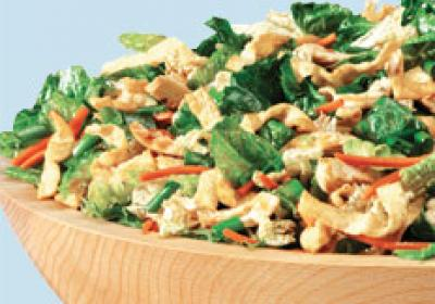 Souplantation named a Chinese salad Wonton Chicken Happiness.