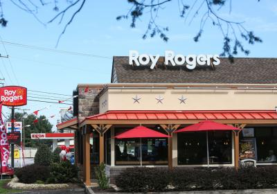 The exterior of a Roy Rogers restaurant.