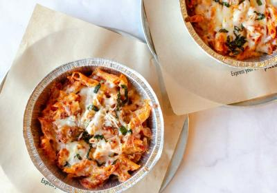 Your Pie's baked pasta in two dishes