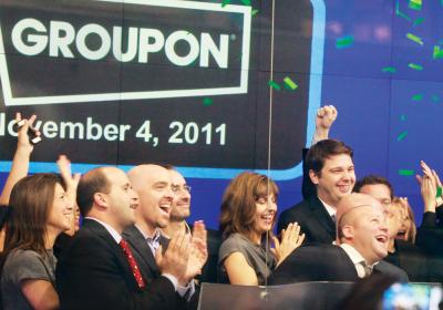 Groupon executives celebrate the company's IPO launch.