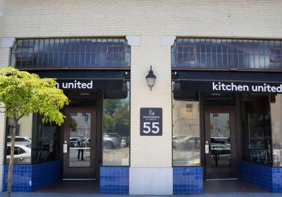 The outside of Kitchen United, a virtual kitchen.