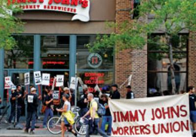 Protesters in favor of employee unions picket a Jimmy John's in Minneapolis.