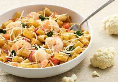 Cauliflower Rigatoni Fresca with Shrimp.