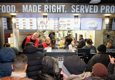 Long longs pack the register at Carl's Jr.'s first Manhattan location, which opened January 31.