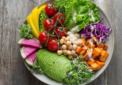 Bowl of vegetable salads.