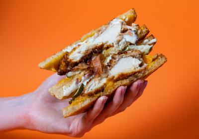 Melt Shop serves indulgent grilled cheese sandwiches.