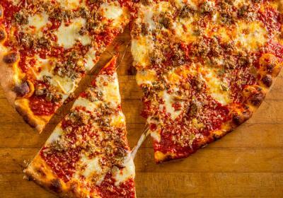 Meatball pizza pie from Artichoke Basille's Pizza.