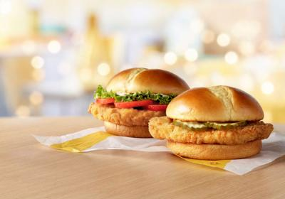McDonald's crispy chicken sandwiches.