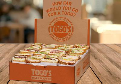 "Box of sandwiches from Togo's with the tagline: ""How Far Would You Go for a Togo?"""