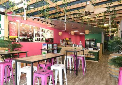 The interior of a Sweetberry fast casual restaurant.