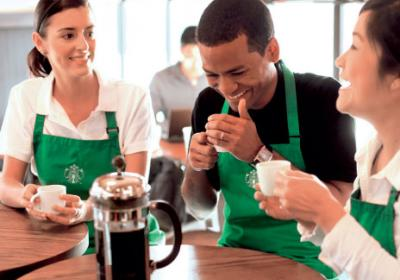 Fast food coffee giant Starbucks gives team members stock in company.