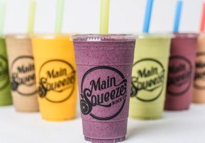 A row of smoothies at Main Squeeze Juice Co.