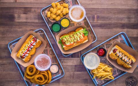 Dog Haus menu items.