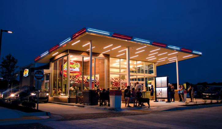 Andy's Frozen Custard exterior at night.