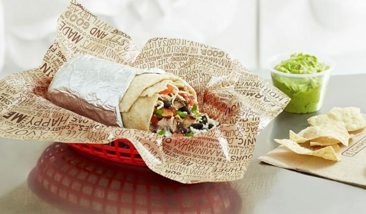 Chipotle burrito in a red basket.