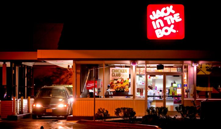 Jack in the Box restaurant seen at night.