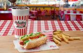Drink, hot dog, and fries from Portillo's.