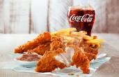 Chicken tenders and a Coca-Cola.