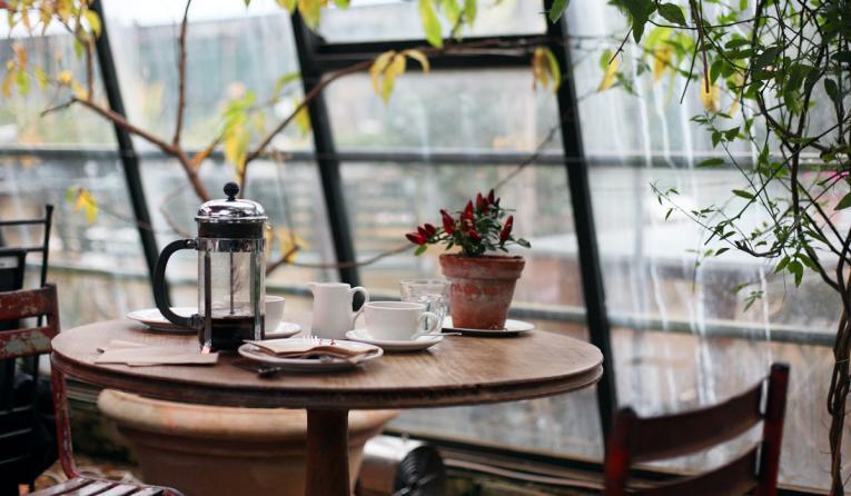Inside an empty cafe.