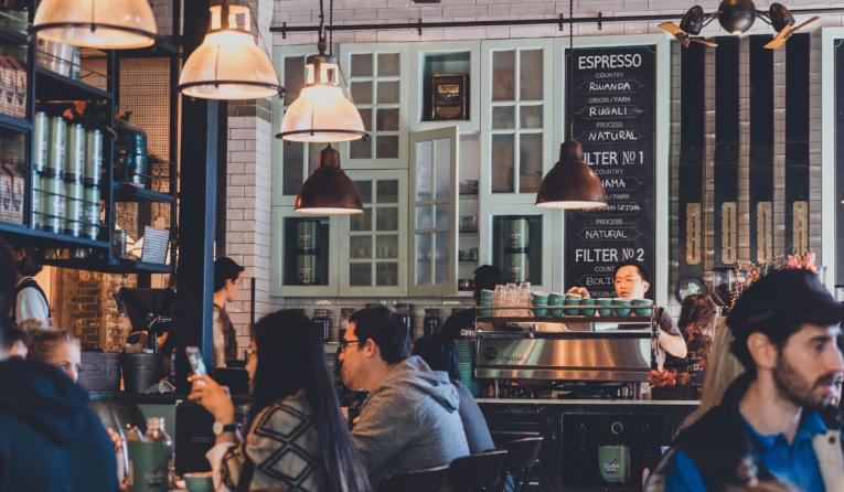 A crowded coffee shop.