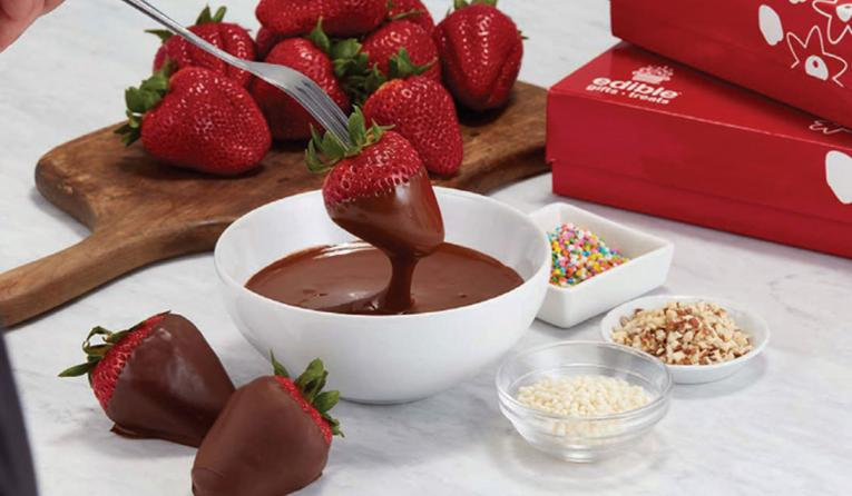 Edible fondue with strawberry.