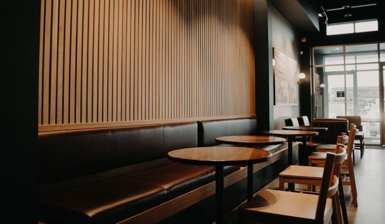 Inside an empty Starbucks restaurant.