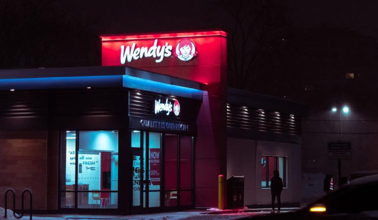 Wendy's exterior at night.