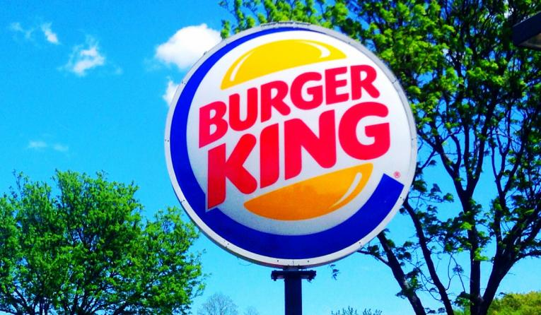Burger King sign outside.