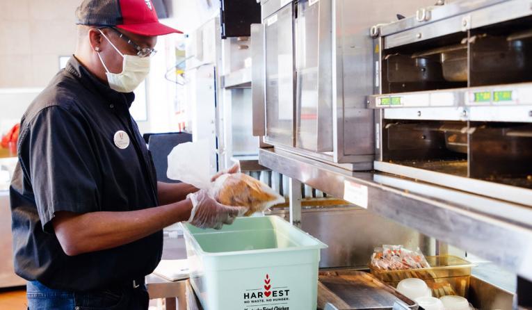 KFC employee in the kitchen.