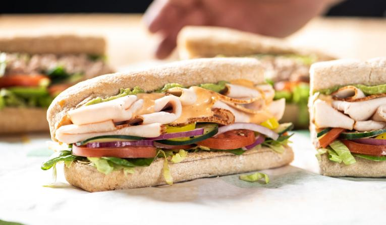 Subway sandwich with sauce.