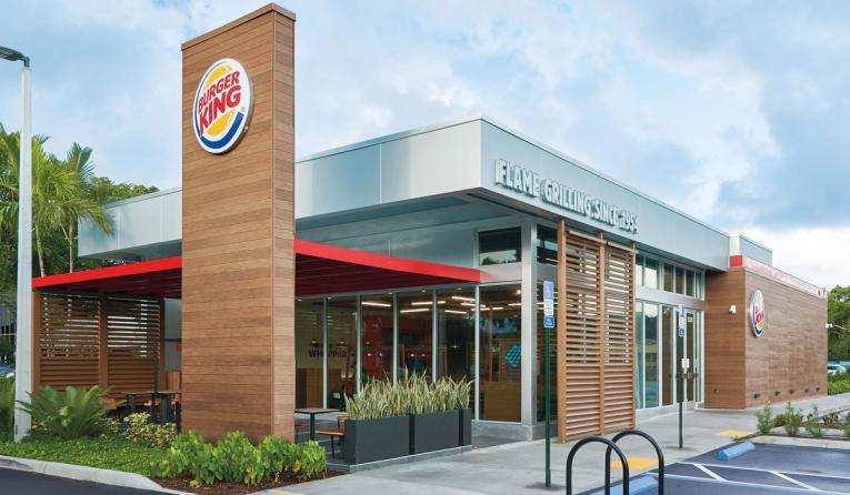 Exterior of a Burger King restaurant.