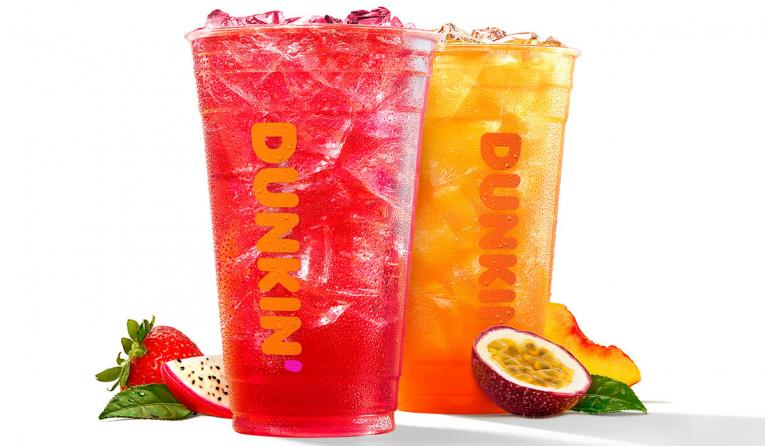 Made with iced green tea, flavored fruit concentrate, and B vitamins*, Dunkin' Refreshers are beautifully bold beverages that will keep guests feeling renewed and refreshed.