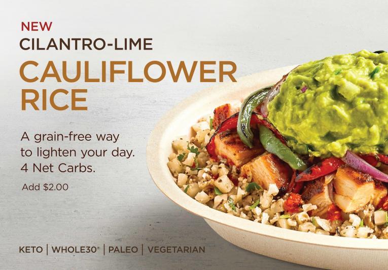 Chipotle Cilantro-Lime Cauliflower Rice.