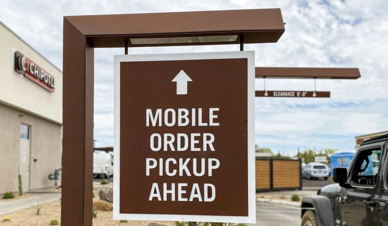 Chipotle mobile order ahead sign.